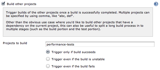 Jenkins Build Pipeline: Build other projects trigger