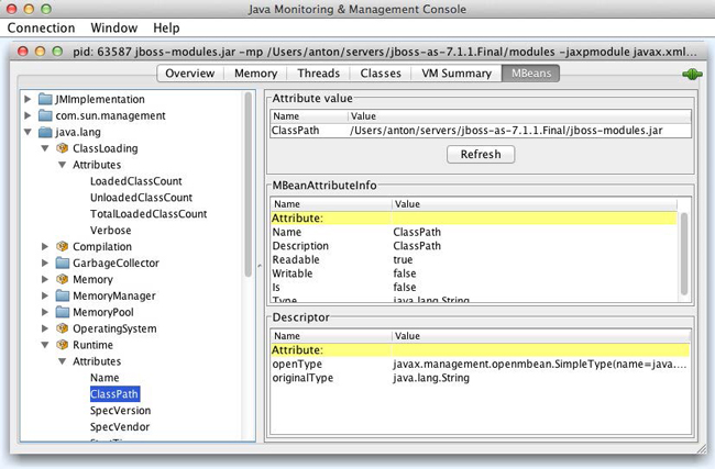 jconsole window attached to JBoss application server process