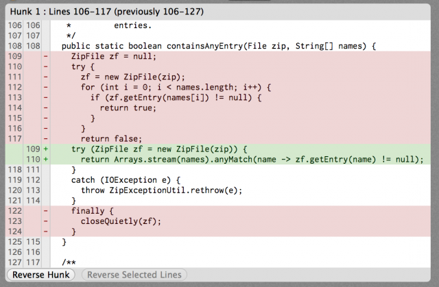 Stream.containsAny works very well for determining if a zip file has entries by given names.