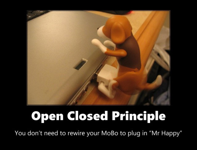 Image of Open Closed Principle: you don't need to rewrite your mobo to plug in Mr Happy