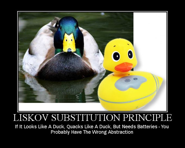 Image of Liskov Substitution Principle: If it looks like a duck, quacks like a duck, but needs batteries you probabaly have the wrong distraction