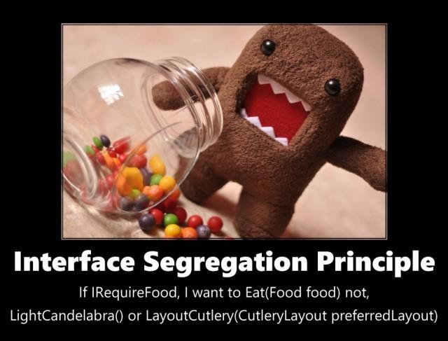 Image of Interface Segregation Principle: if I require food, I want to eat(food food) not (lightcandelabra() or LayoutCutlery(CutleryLayout preferredLayout)