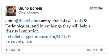 screenshot of @RebelLabs survey on twitter