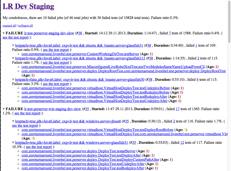 Jenkins plugin for HTML reports on multiple CI branches | JRebel com