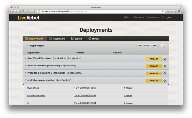 screenshot of LiveRebel deployments in 2013