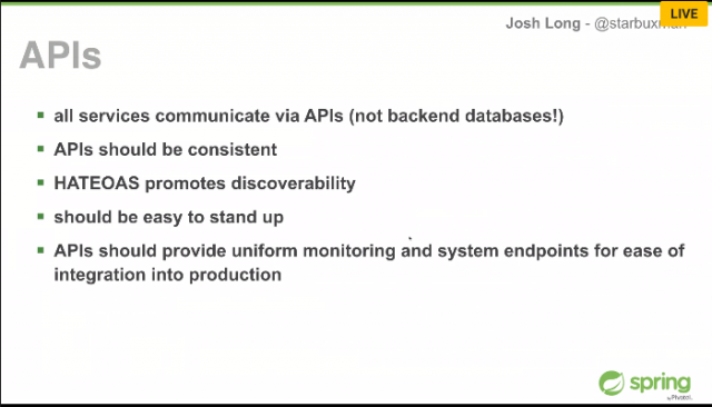 Screenshot from Josh Long presentation of what APIs should look like