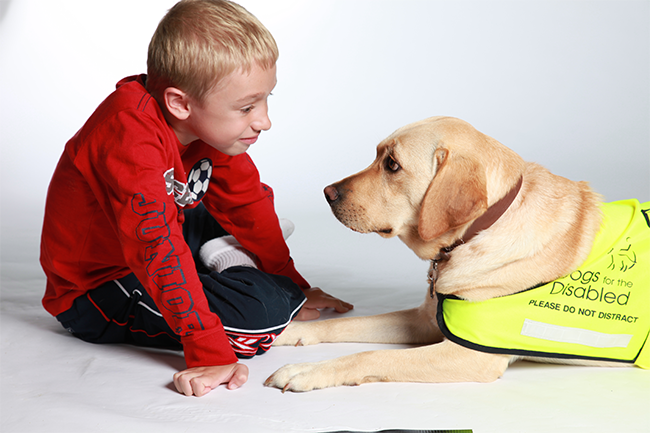 Image of child with dog from Dogs for the Disabled