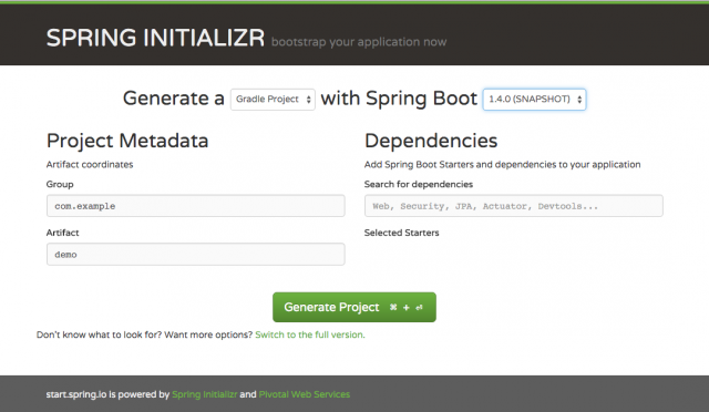 Spring initializr project starter